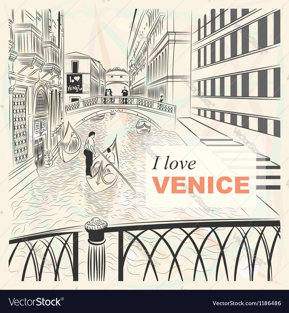 Bridge of sighs in venice vector | Price: 3 Credit (USD $3)