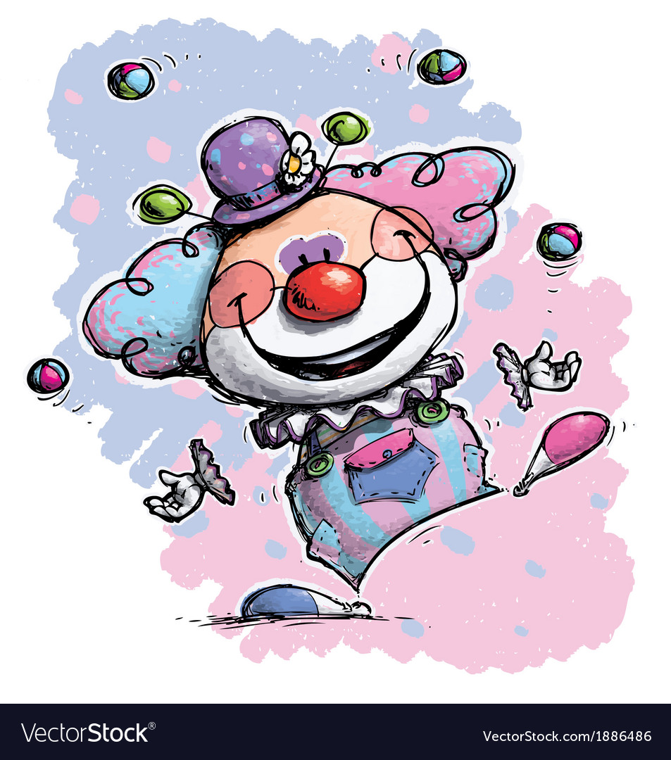 Clown juggling baby colors vector | Price: 3 Credit (USD $3)