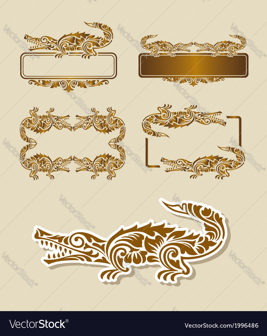 Crocodile floral pattern decoration vector | Price: 1 Credit (USD $1)