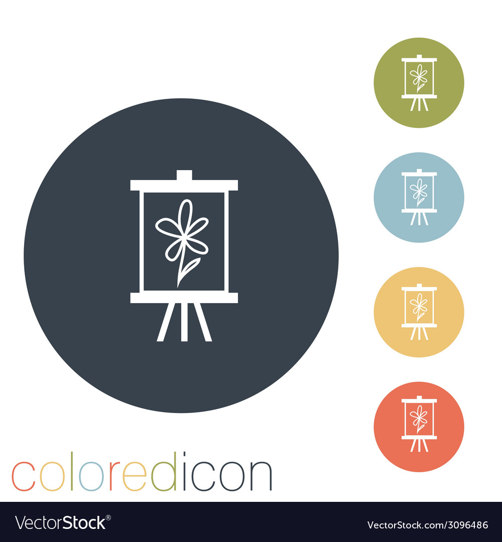 Easel with picture icon painting school symbol vector | Price: 1 Credit (USD $1)