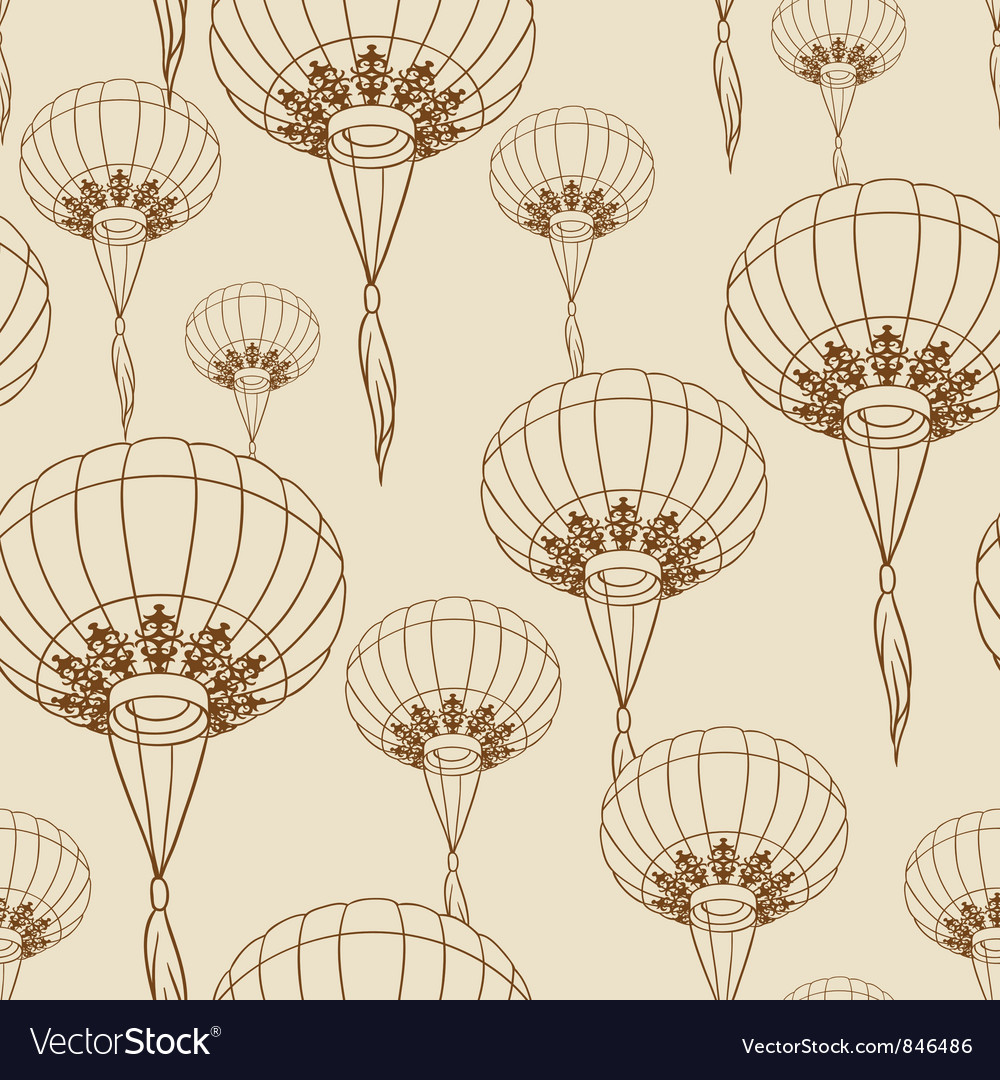 Fairy-lights big traditional chinese lanterns vector | Price: 1 Credit (USD $1)