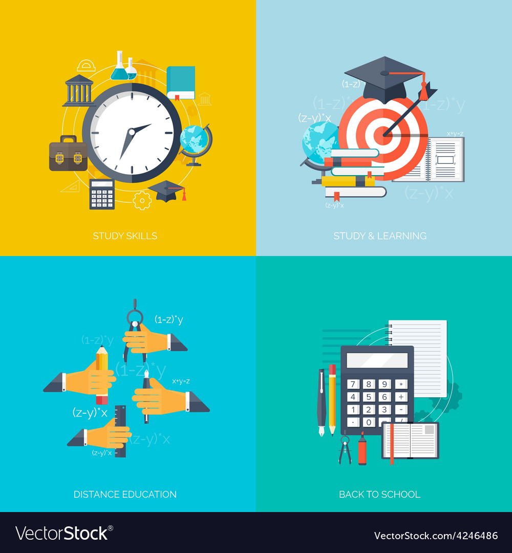 Flat concept education backgrounds set back to vector   Price: 1 Credit (USD $1)