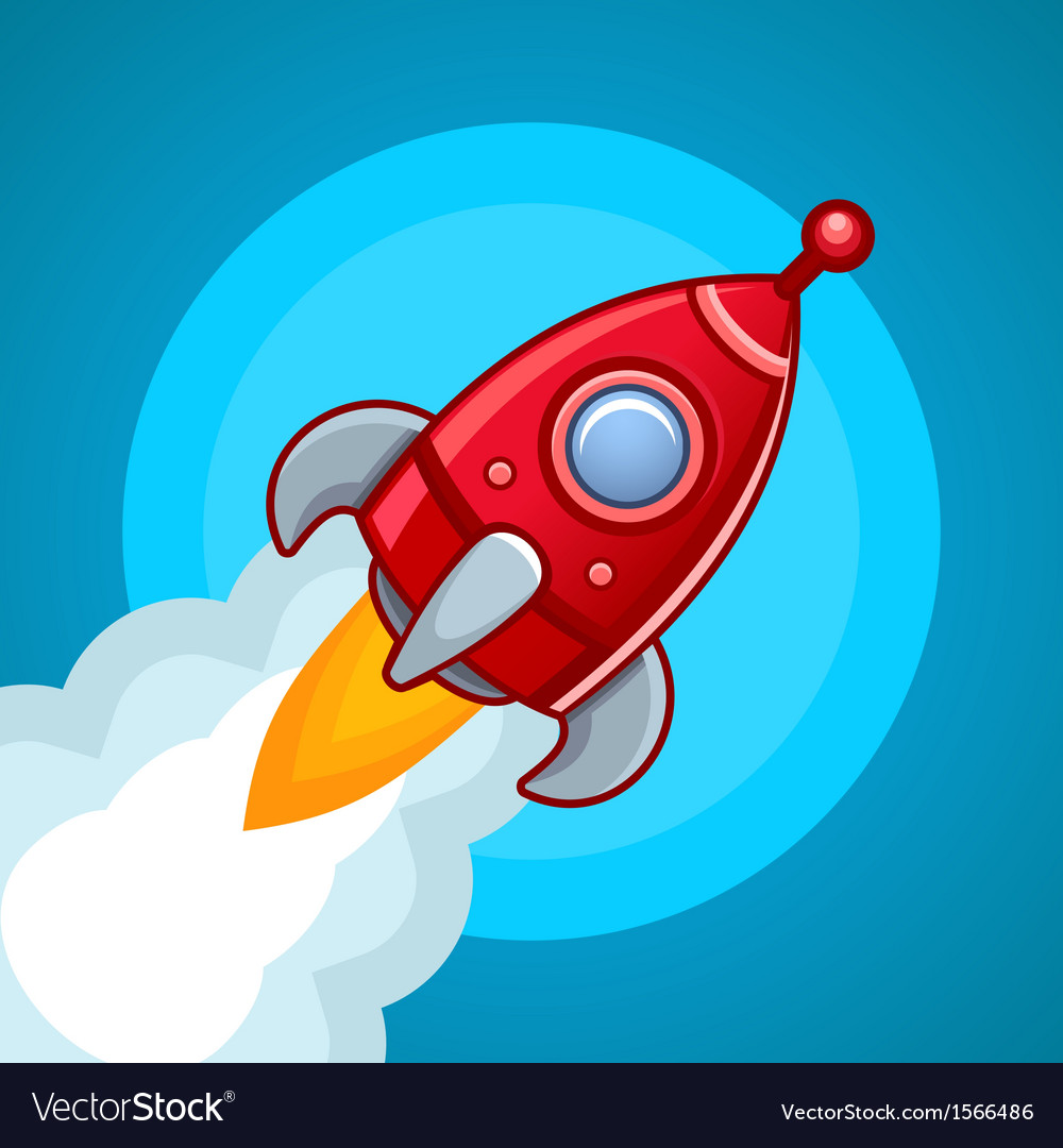 Fly rocket on blue sky vector | Price: 1 Credit (USD $1)