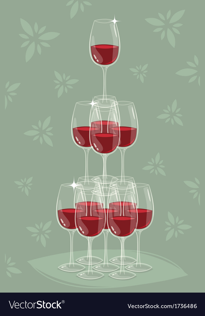 Glass tower of wine vector | Price: 1 Credit (USD $1)