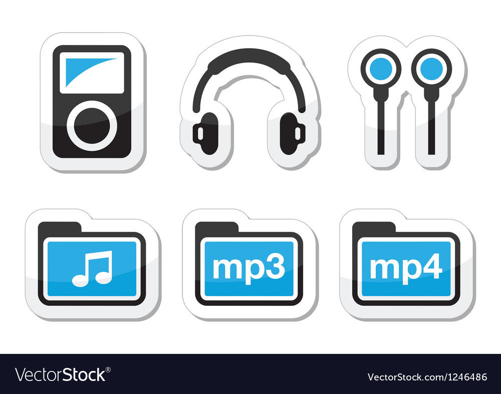 Mp3 player icons set vector | Price: 1 Credit (USD $1)