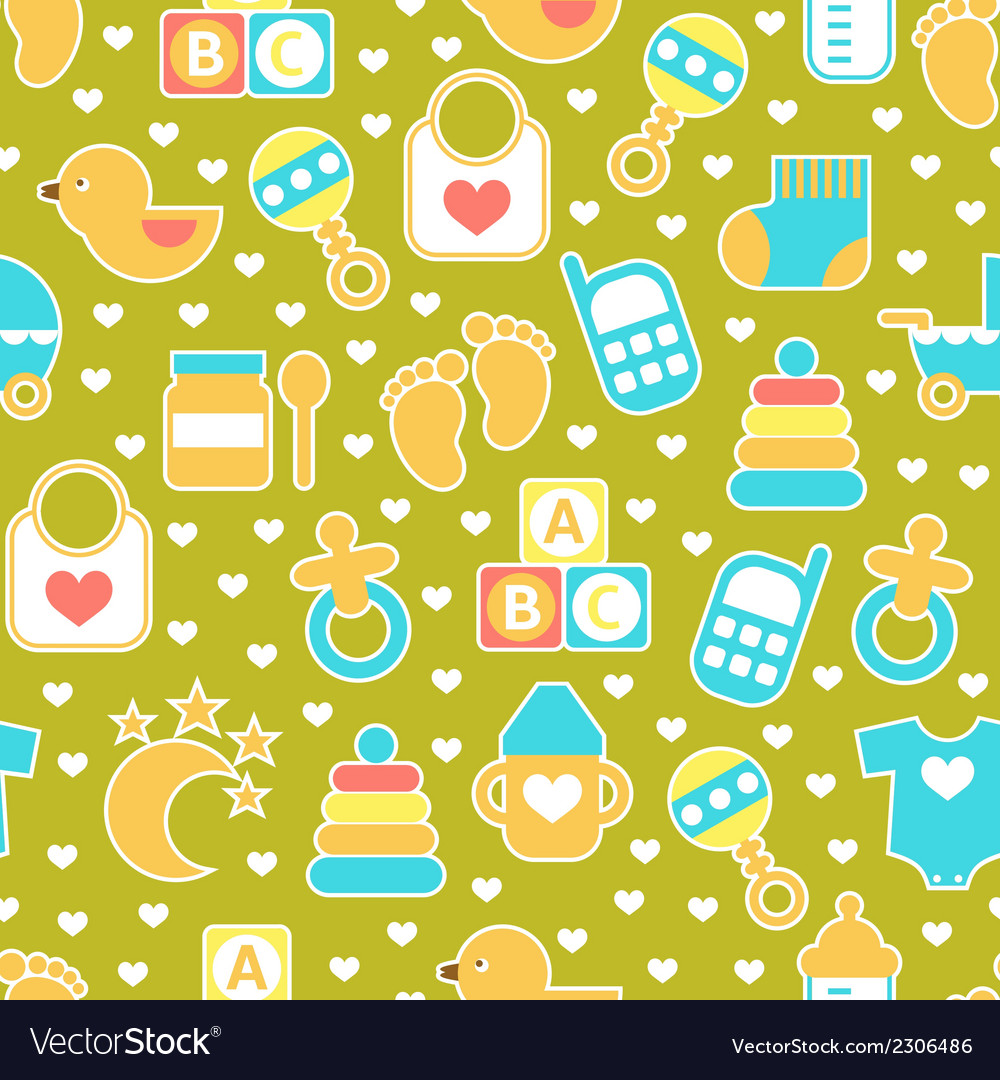 Seamless baby pattern vector | Price: 1 Credit (USD $1)