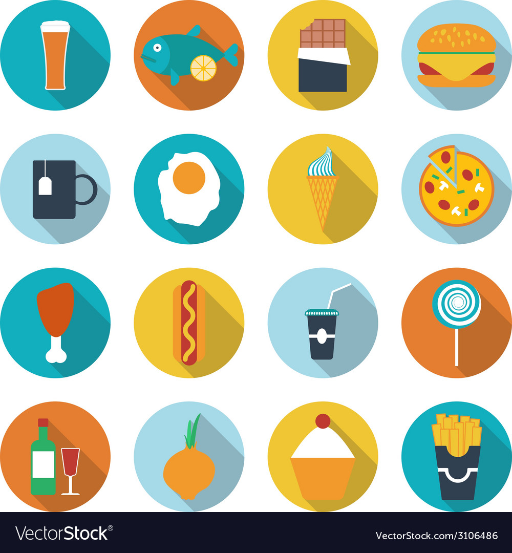 Set of flat design icons for food and drink vector | Price: 1 Credit (USD $1)