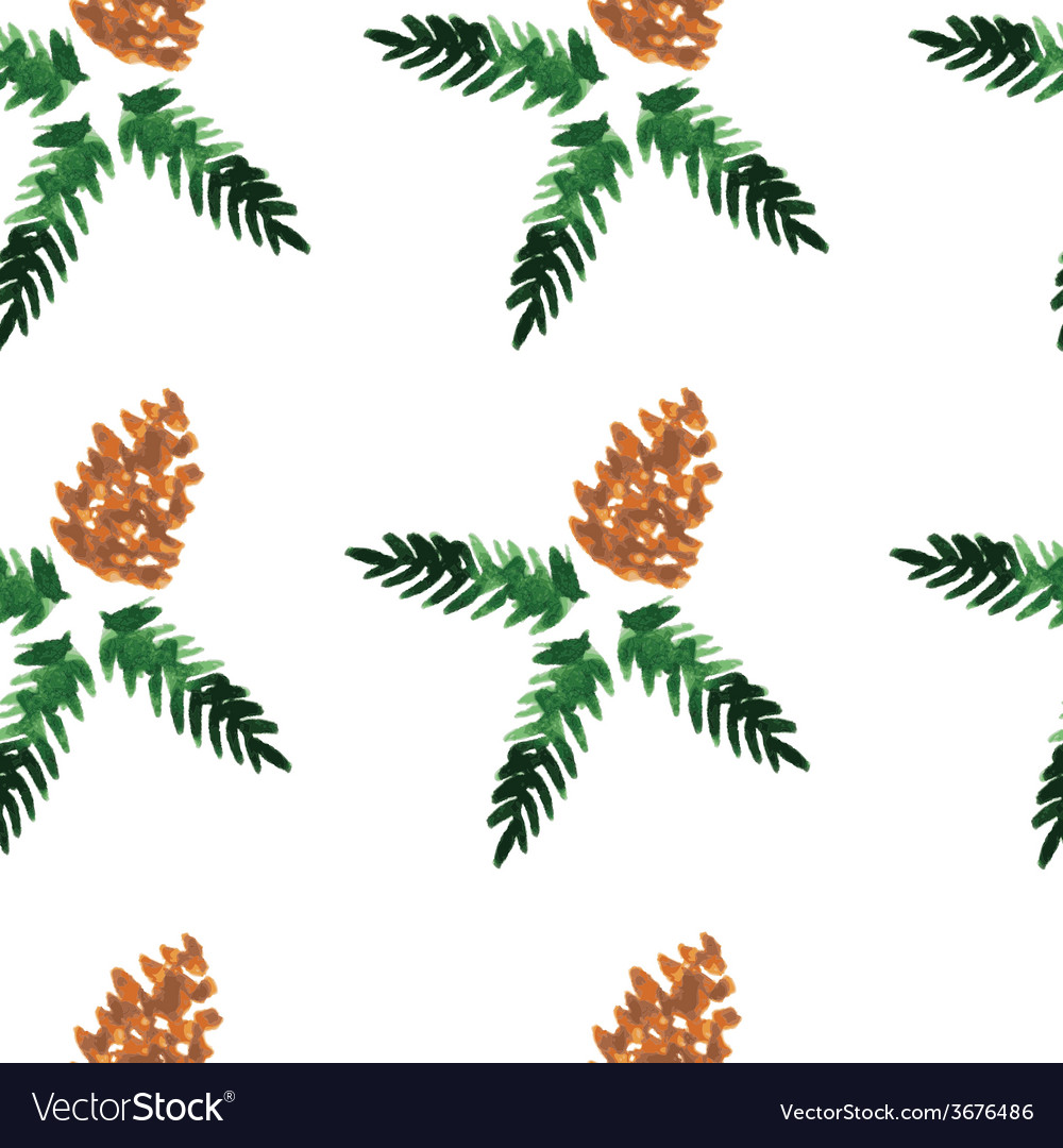 Watercolor seamless pattern - forest cones vector | Price: 1 Credit (USD $1)