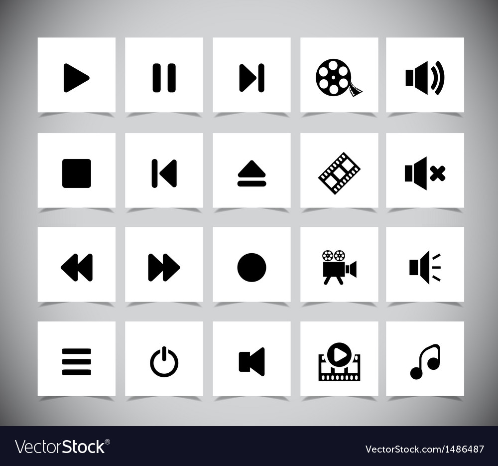 Black media icons vector | Price: 1 Credit (USD $1)