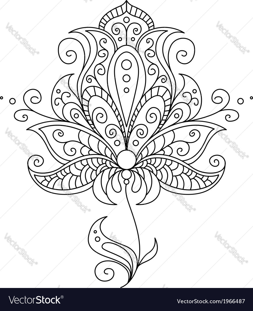 Dainty black and white floral element vector | Price: 1 Credit (USD $1)