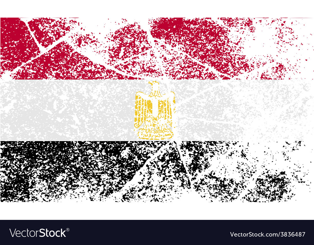 Flag of egypt with old texture vector | Price: 1 Credit (USD $1)
