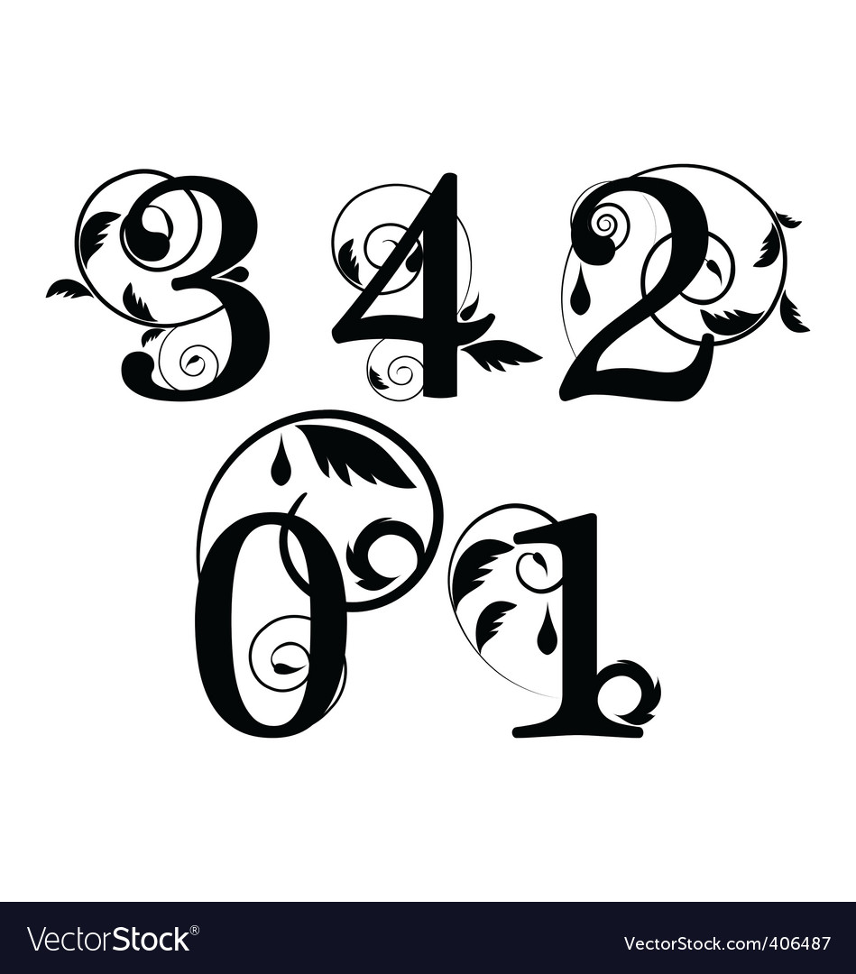 Floral font numbers vector | Price: 1 Credit (USD $1)