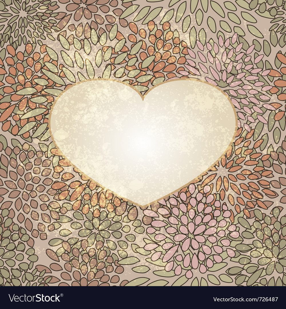 Heart on seamless floral vector | Price: 1 Credit (USD $1)