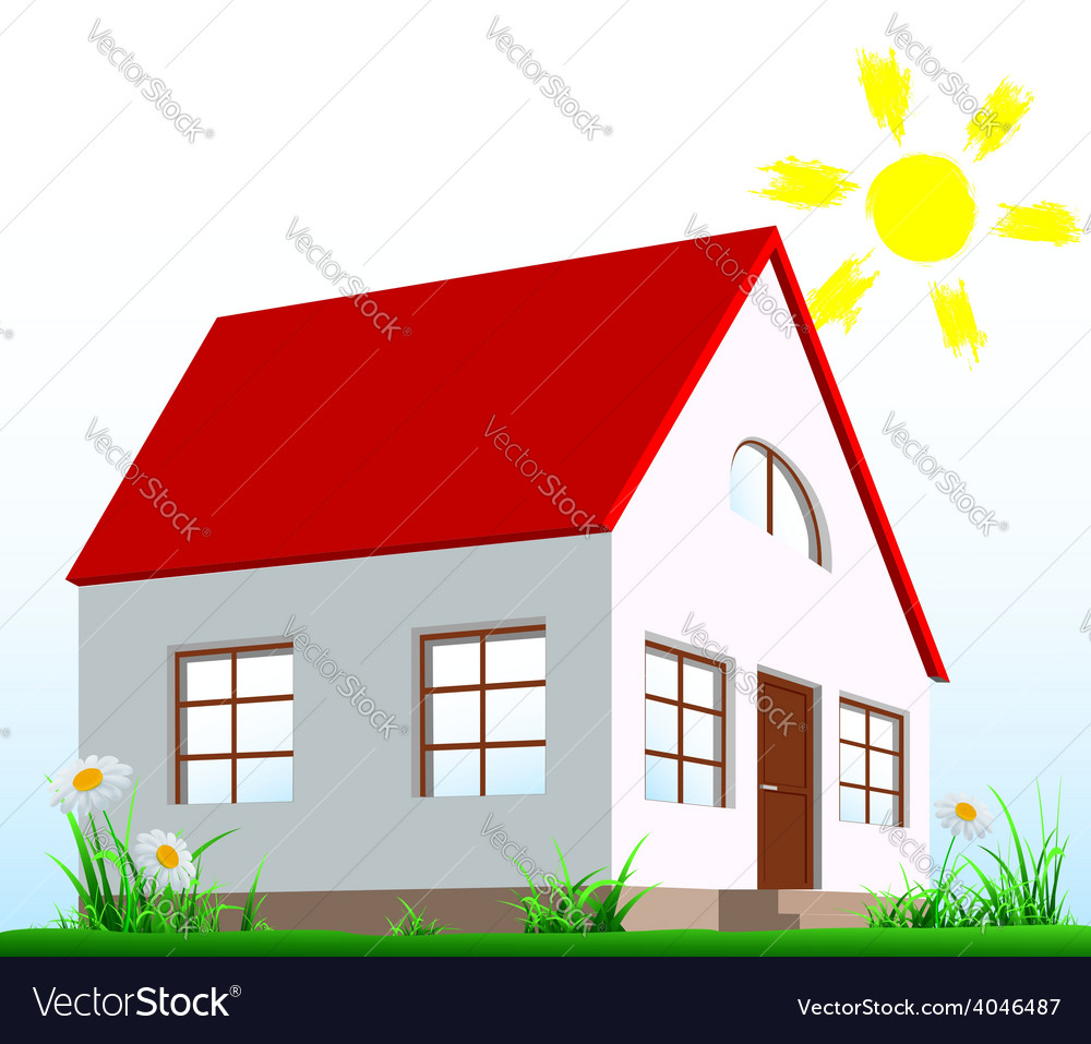 The house stands on the lawn vector   Price: 1 Credit (USD $1)