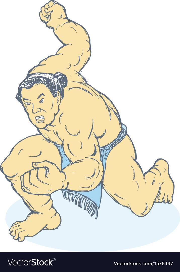 Japanese sumo wrestler fighting stance vector | Price: 1 Credit (USD $1)