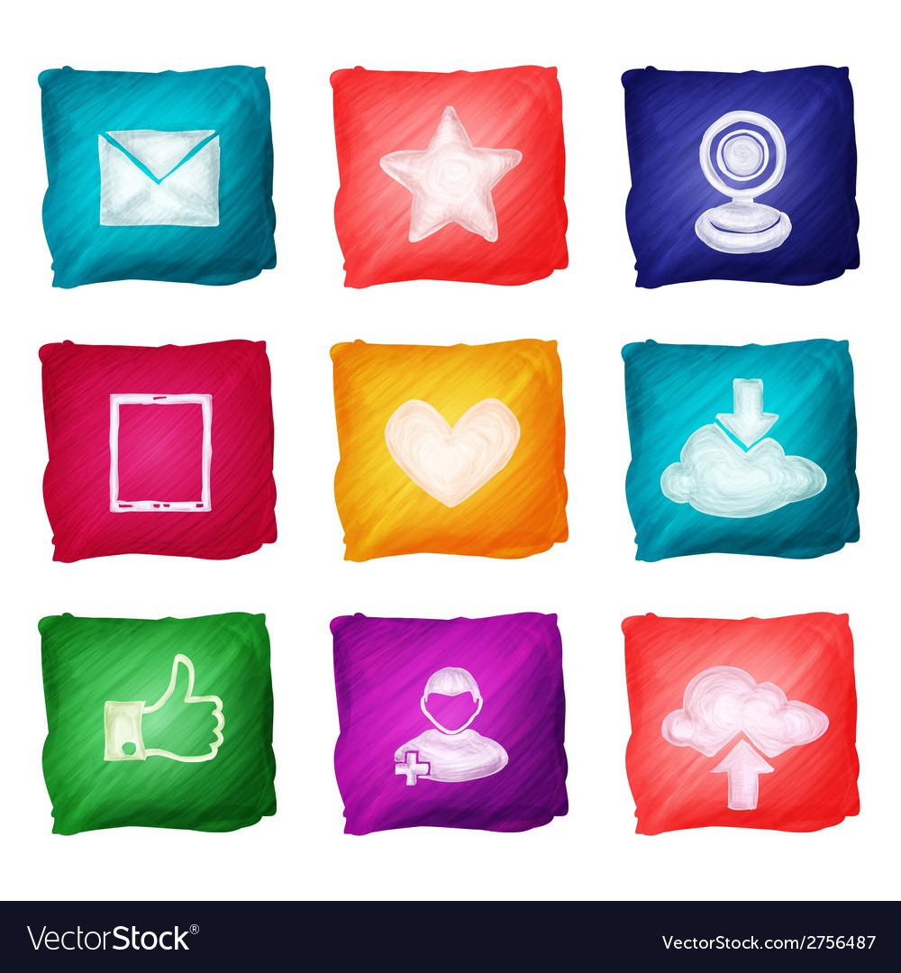Social media icons watercolor vector | Price: 1 Credit (USD $1)