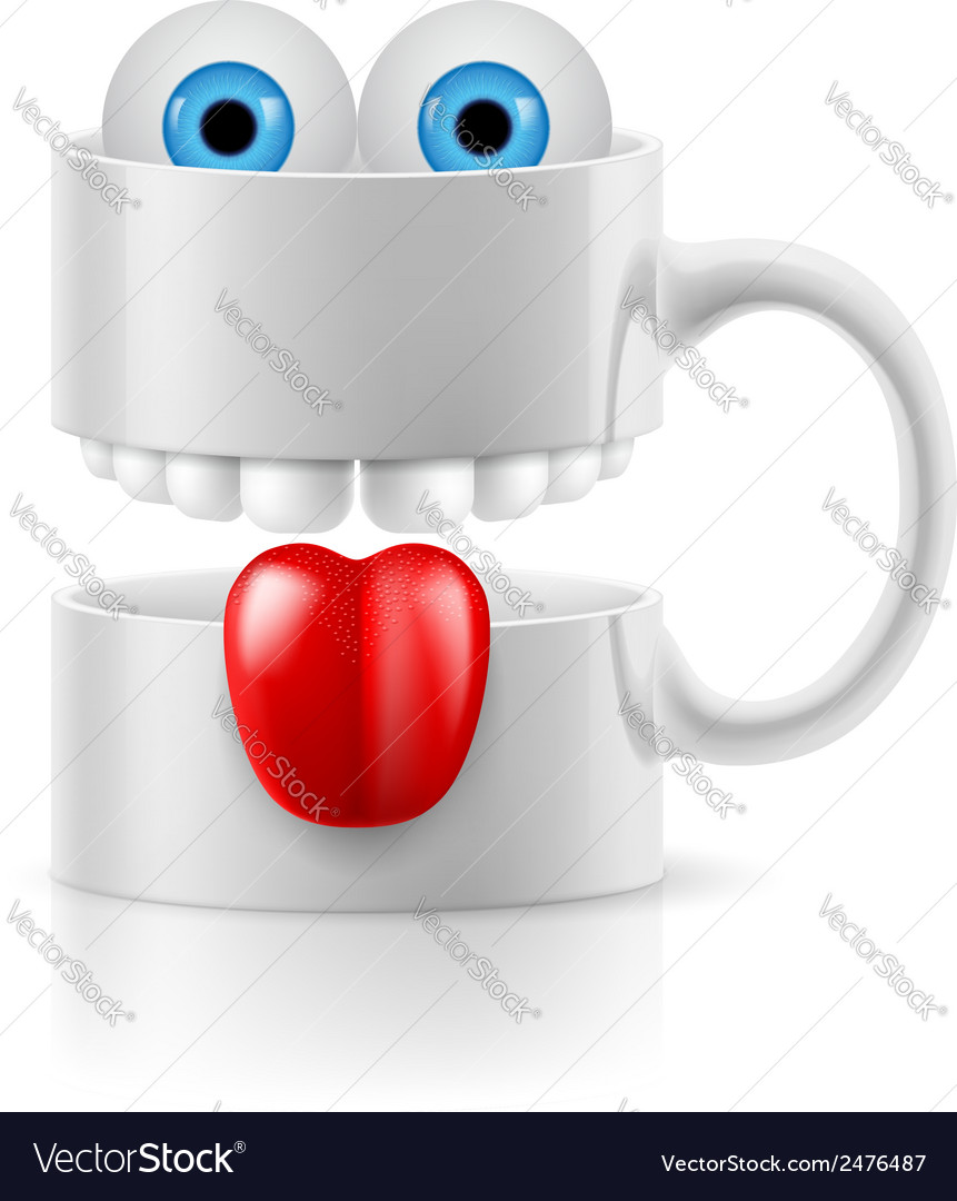 White mug of two parts with teeth tongue and vector | Price: 1 Credit (USD $1)