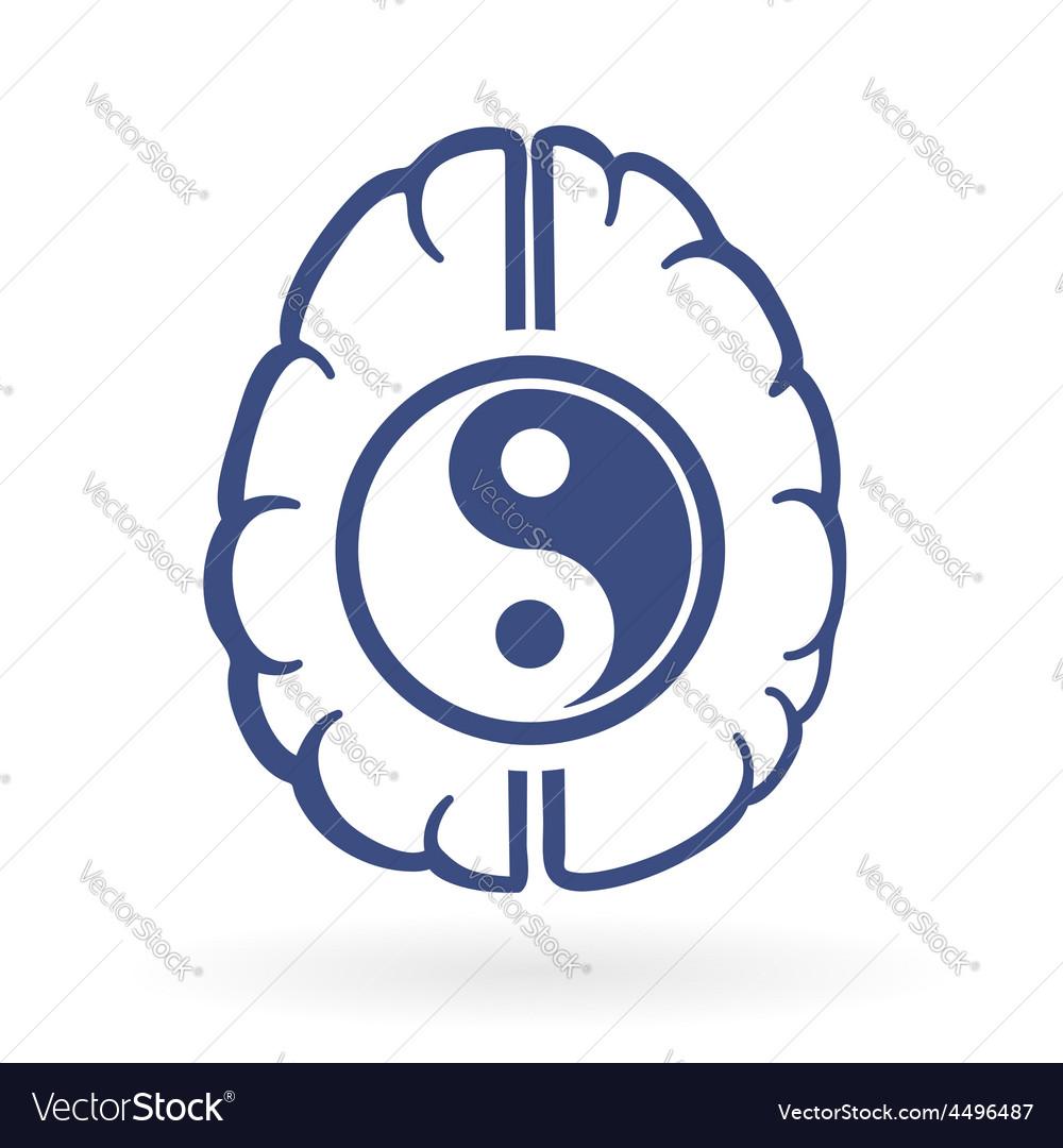 Ying yang and human brain symbols vector | Price: 1 Credit (USD $1)