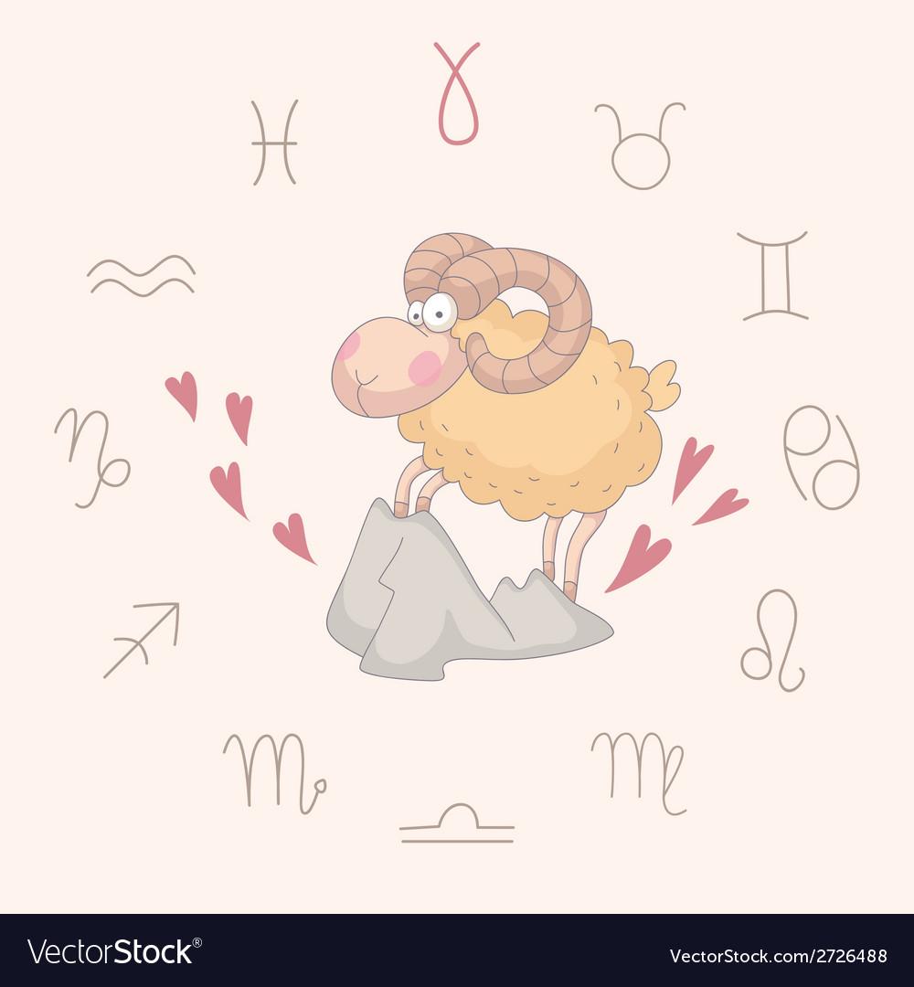 Cartoon of the ram aries vector   Price: 1 Credit (USD $1)