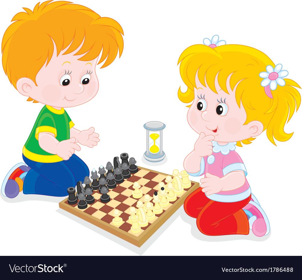 Children play chess vector | Price: 1 Credit (USD $1)
