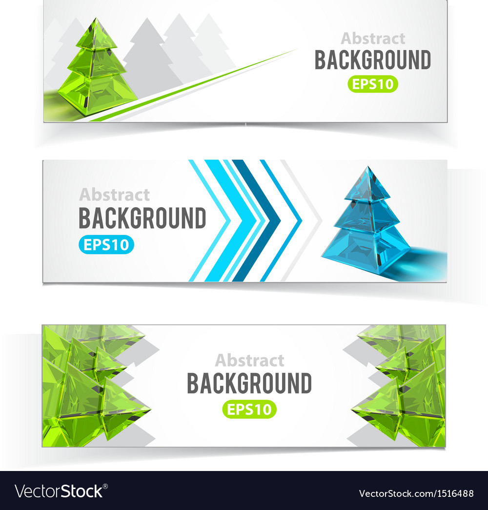 Colorful set of banners with christmas tree vector | Price: 1 Credit (USD $1)