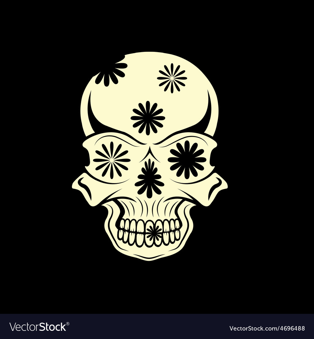 Day of the dead skull with flowers dia de los vector | Price: 1 Credit (USD $1)