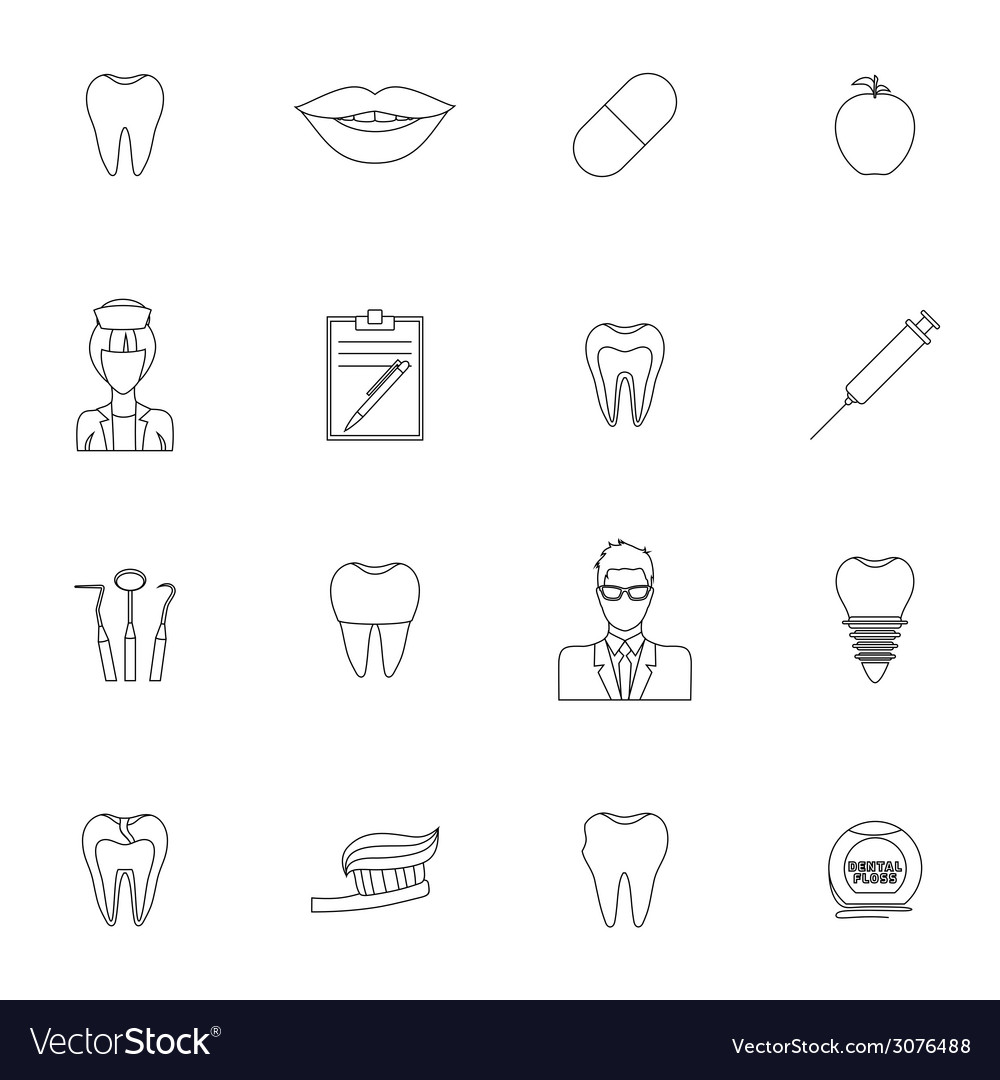 Dental icons outline vector | Price: 1 Credit (USD $1)