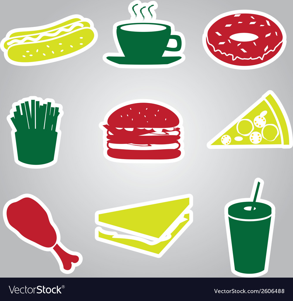 Fast food stickers set eps10 vector | Price: 1 Credit (USD $1)