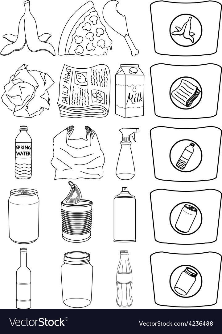 Food bottles cans paper trash recycle pack lineart vector