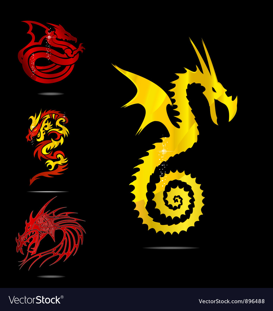 Gold and red dragons emblems set vector | Price: 3 Credit (USD $3)