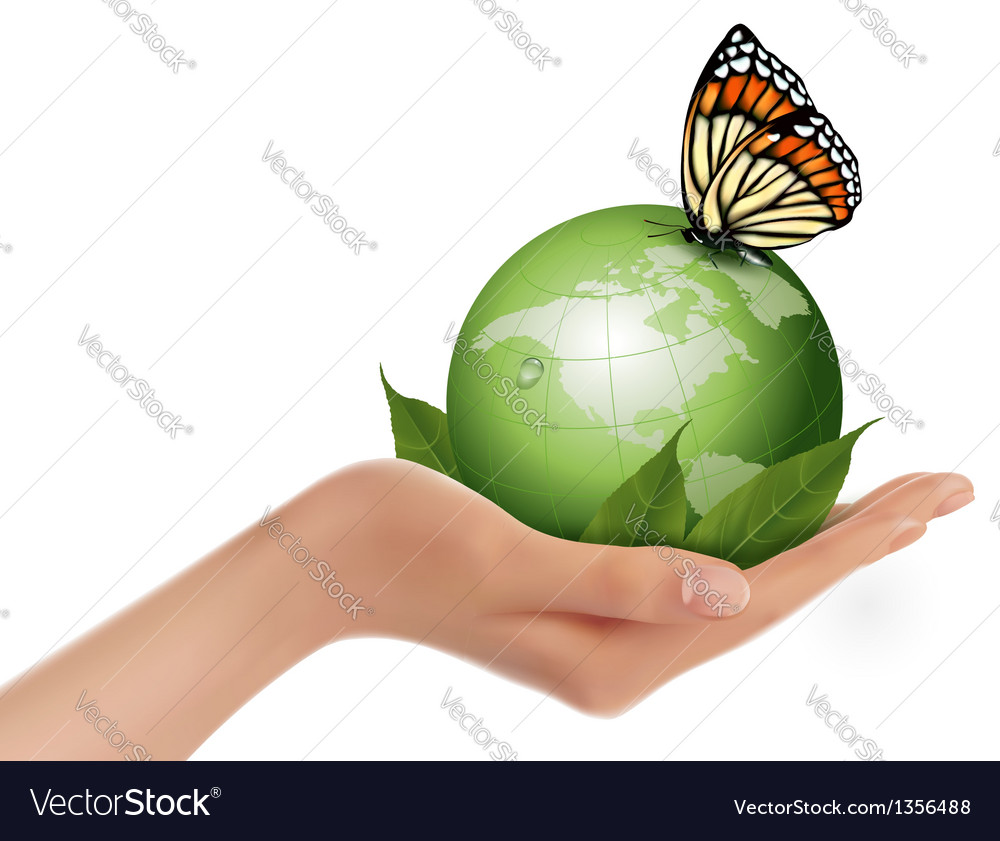 Green world with leaf and butterfly in woman hand vector | Price: 3 Credit (USD $3)