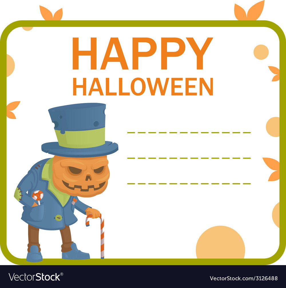 Halloween pumpkin monster card vector | Price: 1 Credit (USD $1)