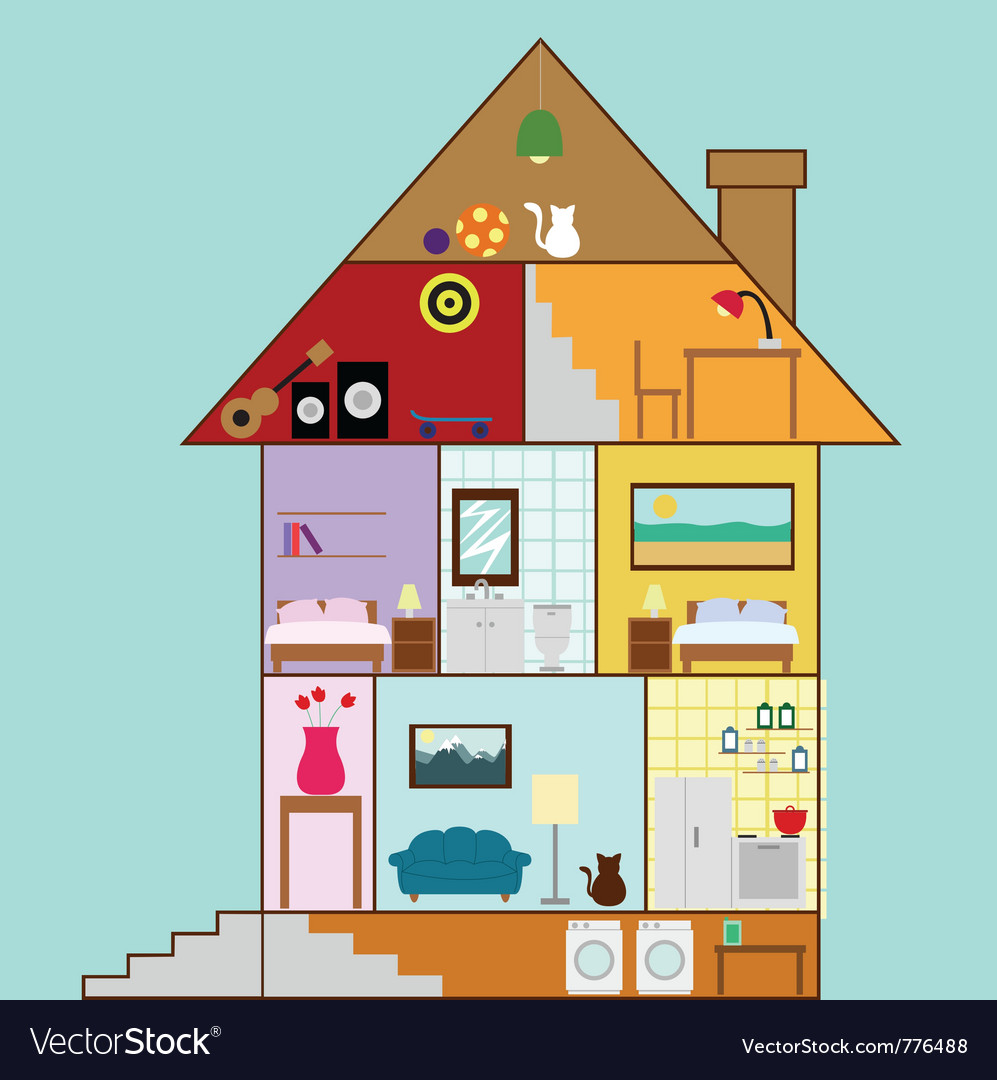 House interior design vector | Price: 1 Credit (USD $1)