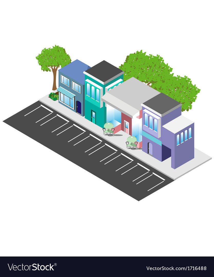 Isometric downtown shops vector | Price: 1 Credit (USD $1)