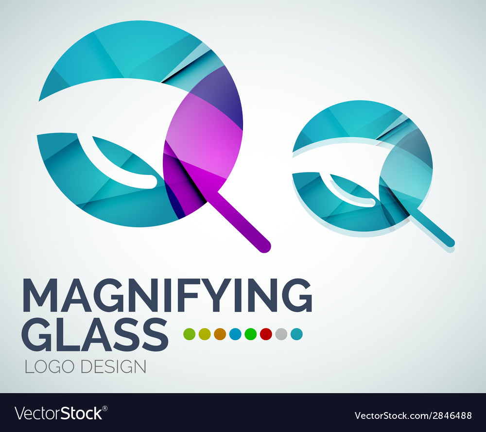 Magnifying glass ogo design made of color pieces vector | Price: 1 Credit (USD $1)