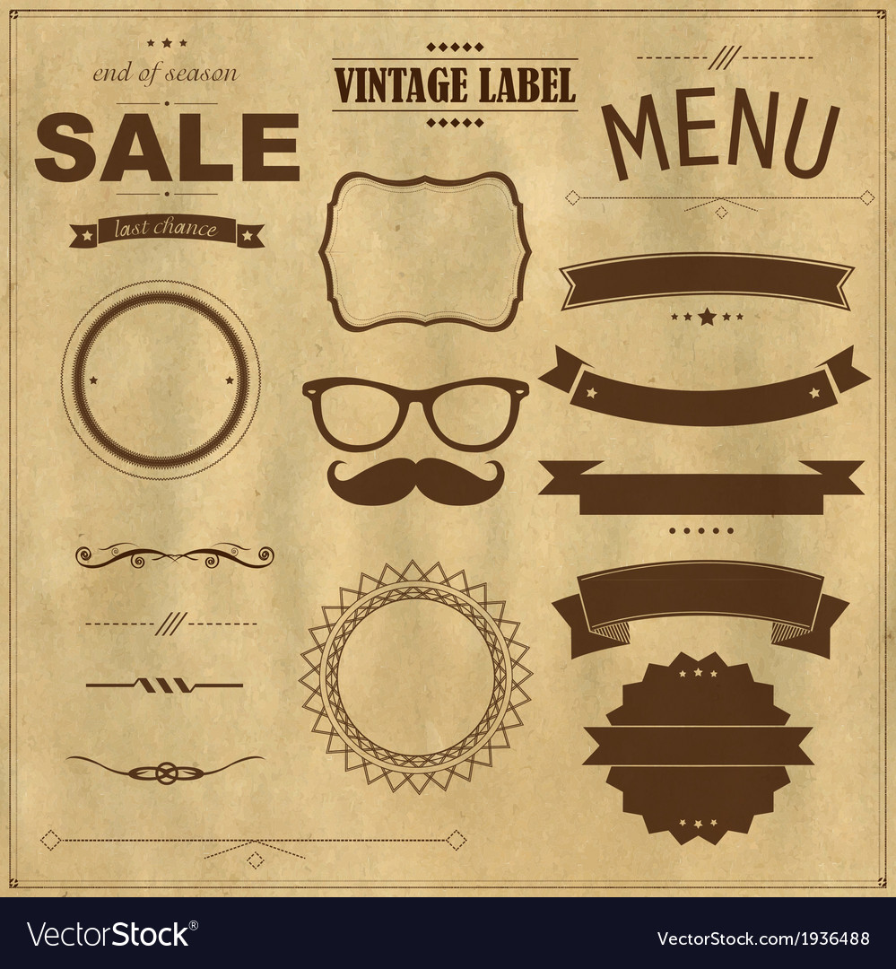 Set of vintage badges with paper background vector | Price: 1 Credit (USD $1)