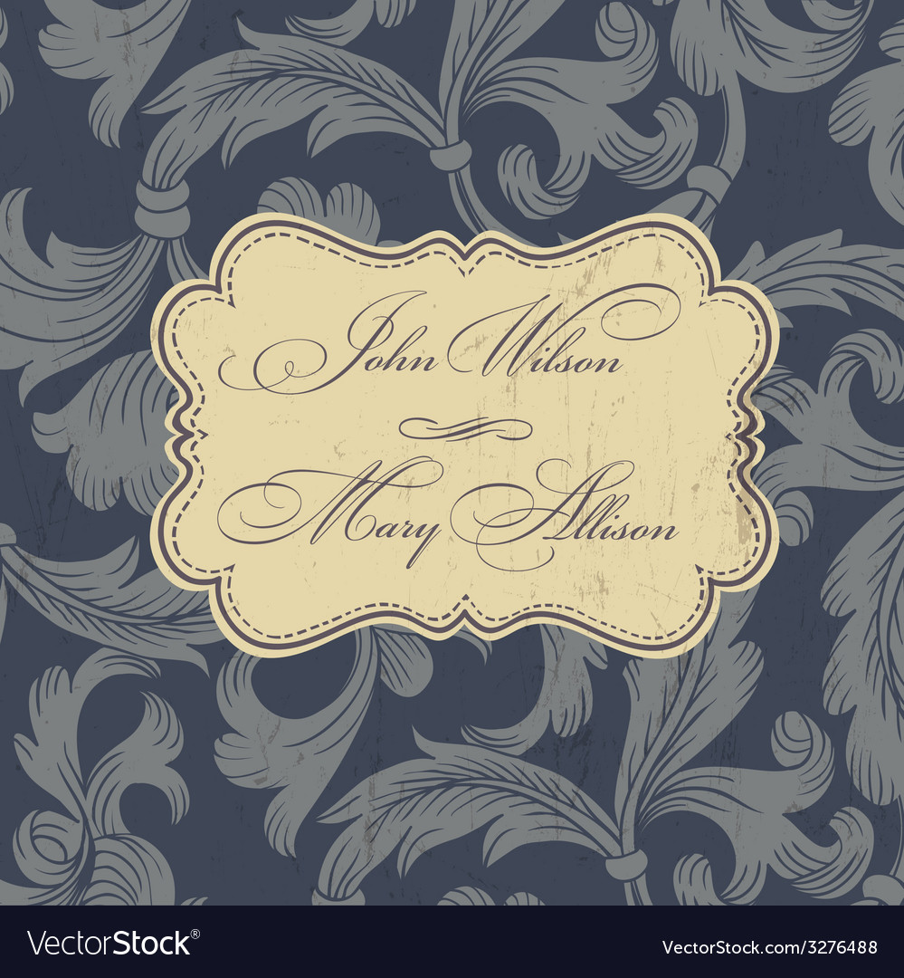 Wedding card design vintage vector | Price: 1 Credit (USD $1)