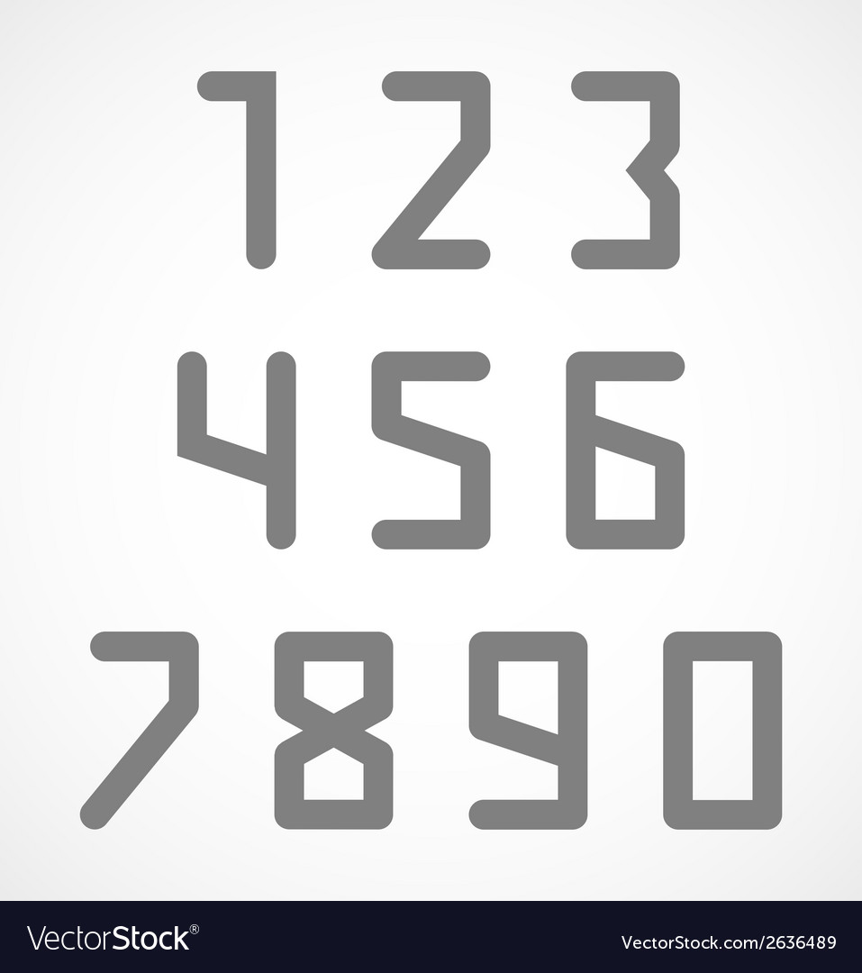 Abstract digital geometric numbers set vector | Price: 1 Credit (USD $1)