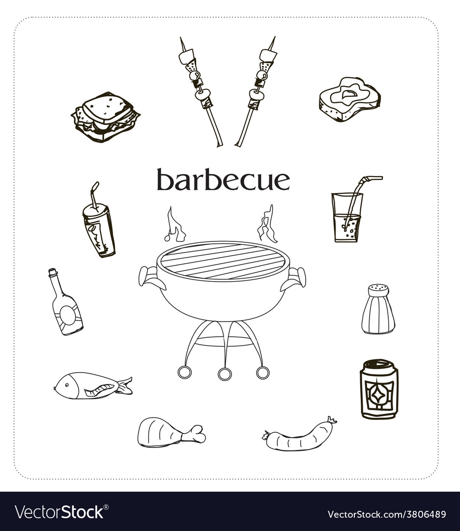 Barbecue icon doodle set vector | Price: 1 Credit (USD $1)