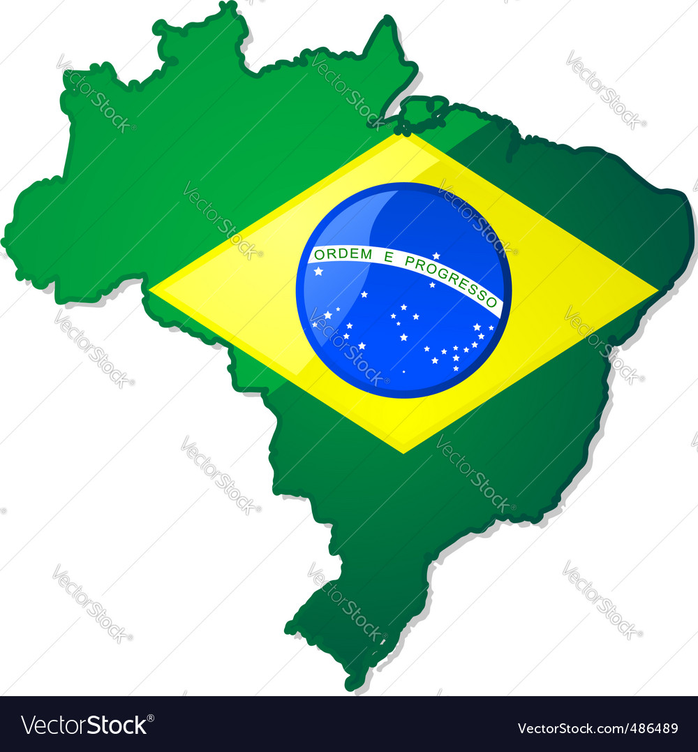 Brazil map with flag vector | Price: 1 Credit (USD $1)