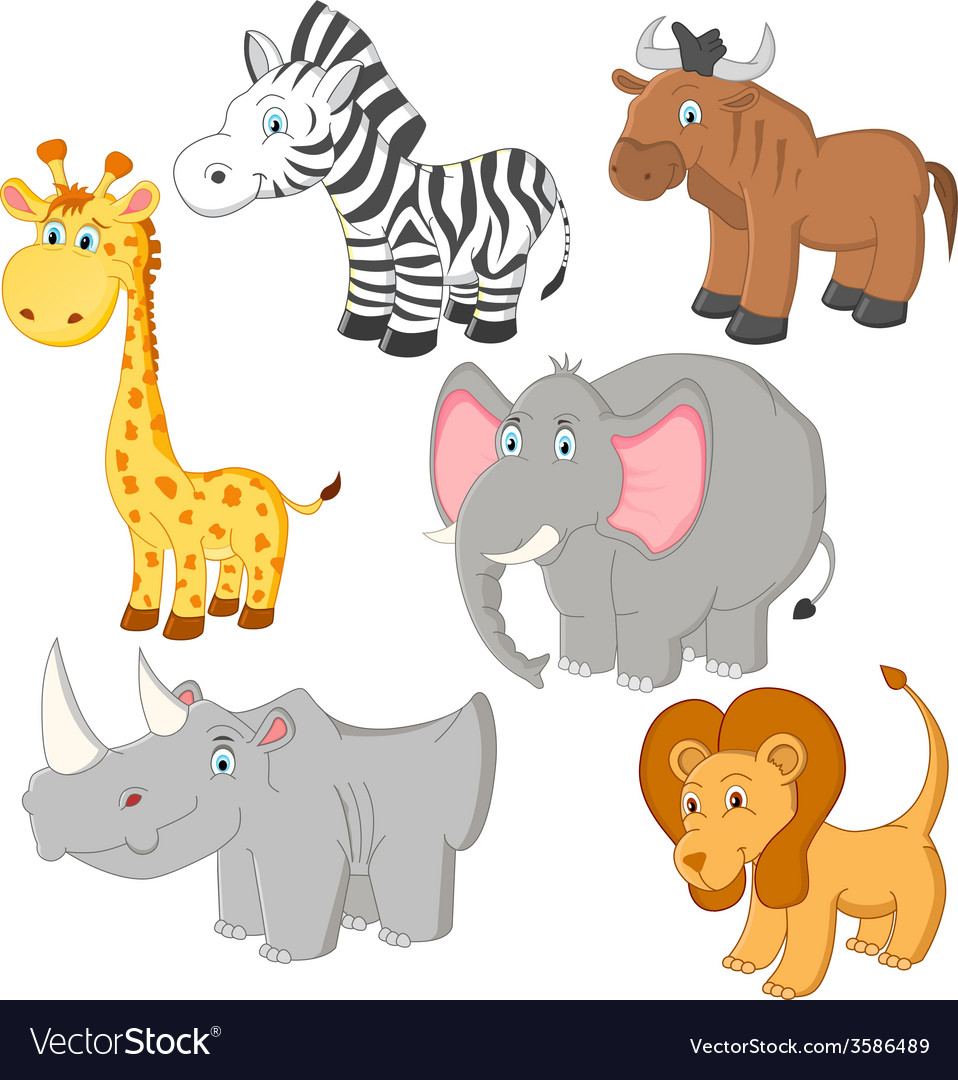 Cartoon african animals vector | Price: 1 Credit (USD $1)
