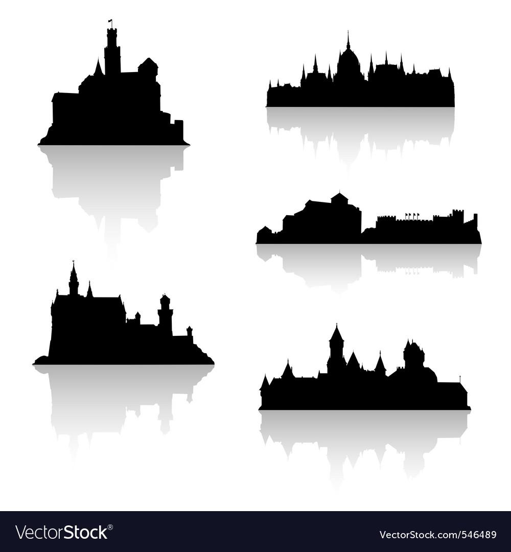 Castle silhouettes vector | Price: 1 Credit (USD $1)