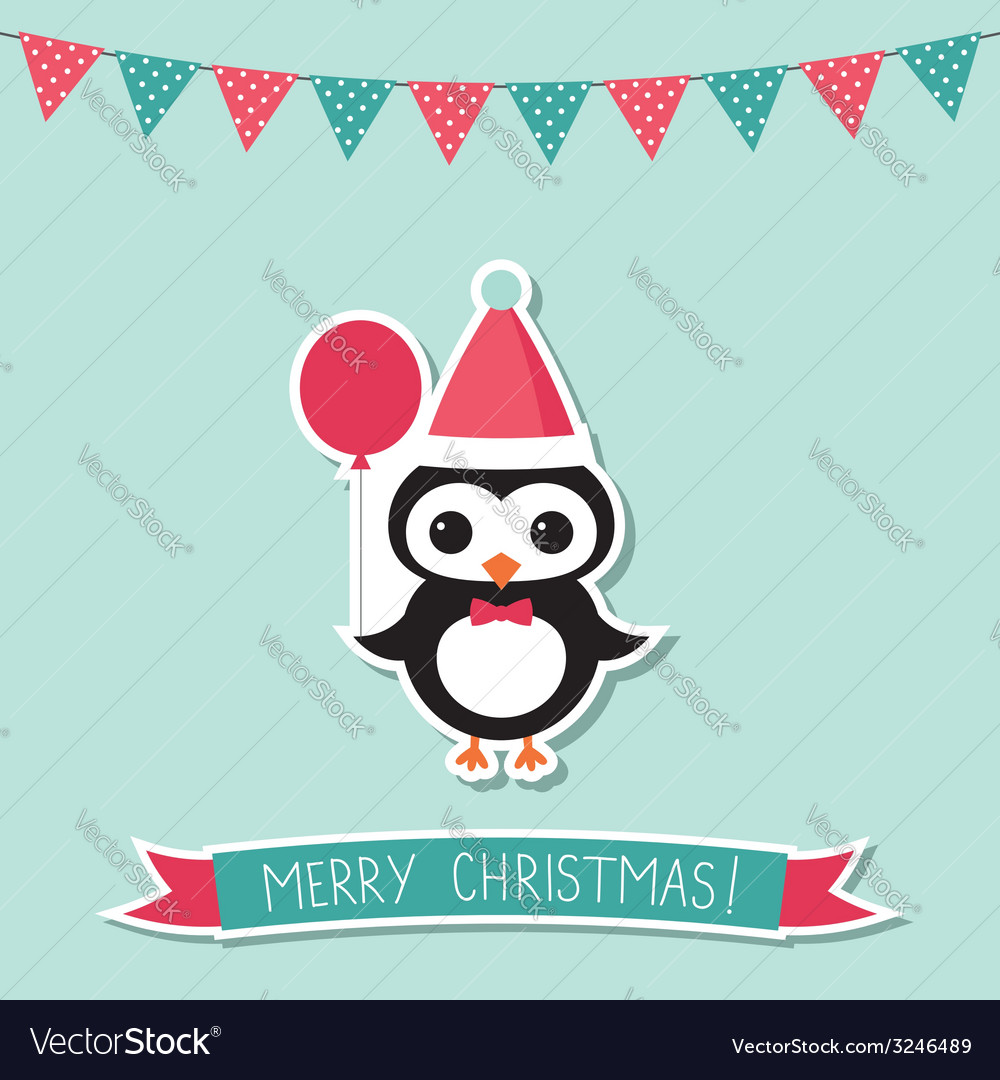 Christmas card with a penguin vector | Price: 1 Credit (USD $1)