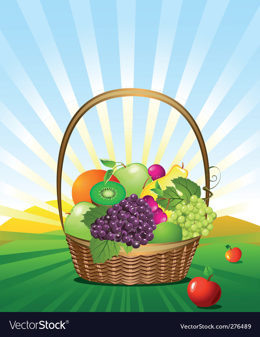Fruit basket in the meadow vector | Price: 3 Credit (USD $3)