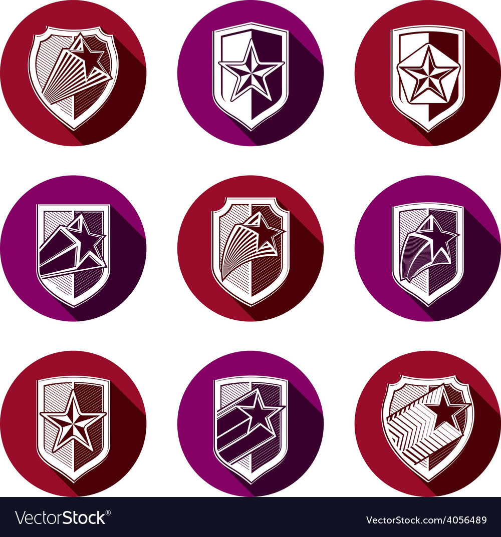 Heraldry set of military forces emblems detailed vector   Price: 1 Credit (USD $1)