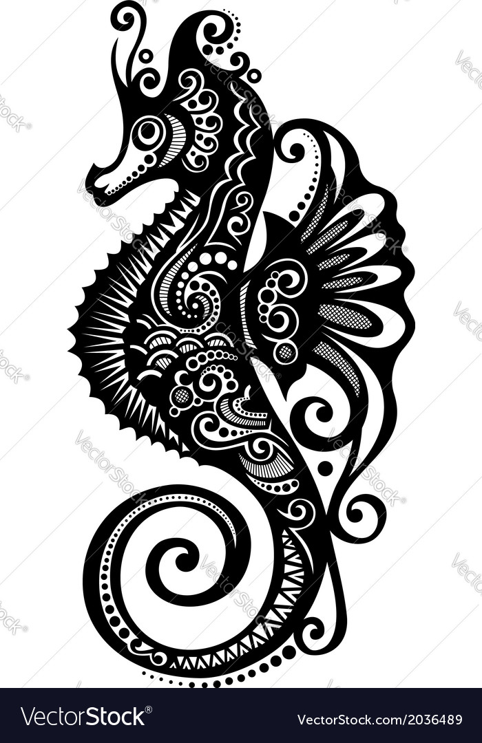 Ornate sea horse vector | Price: 1 Credit (USD $1)