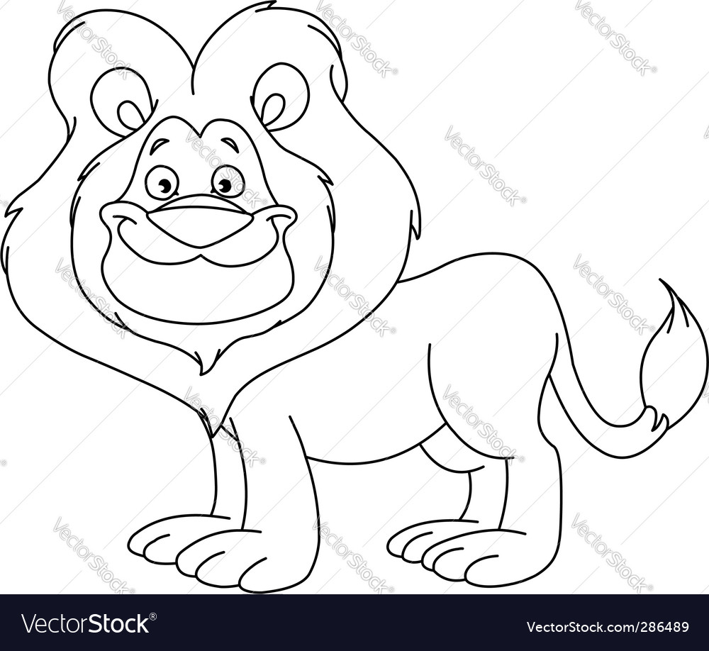 Outlined lion vector | Price: 1 Credit (USD $1)