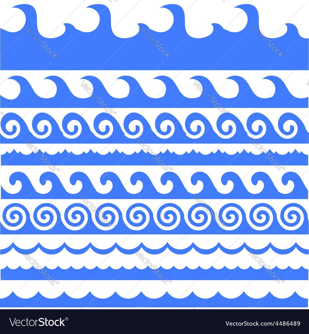 Sea waves set vector | Price: 1 Credit (USD $1)