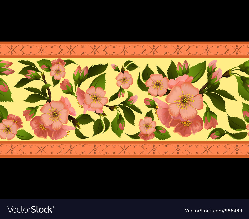 Seamless border with spring flowers vector | Price: 1 Credit (USD $1)