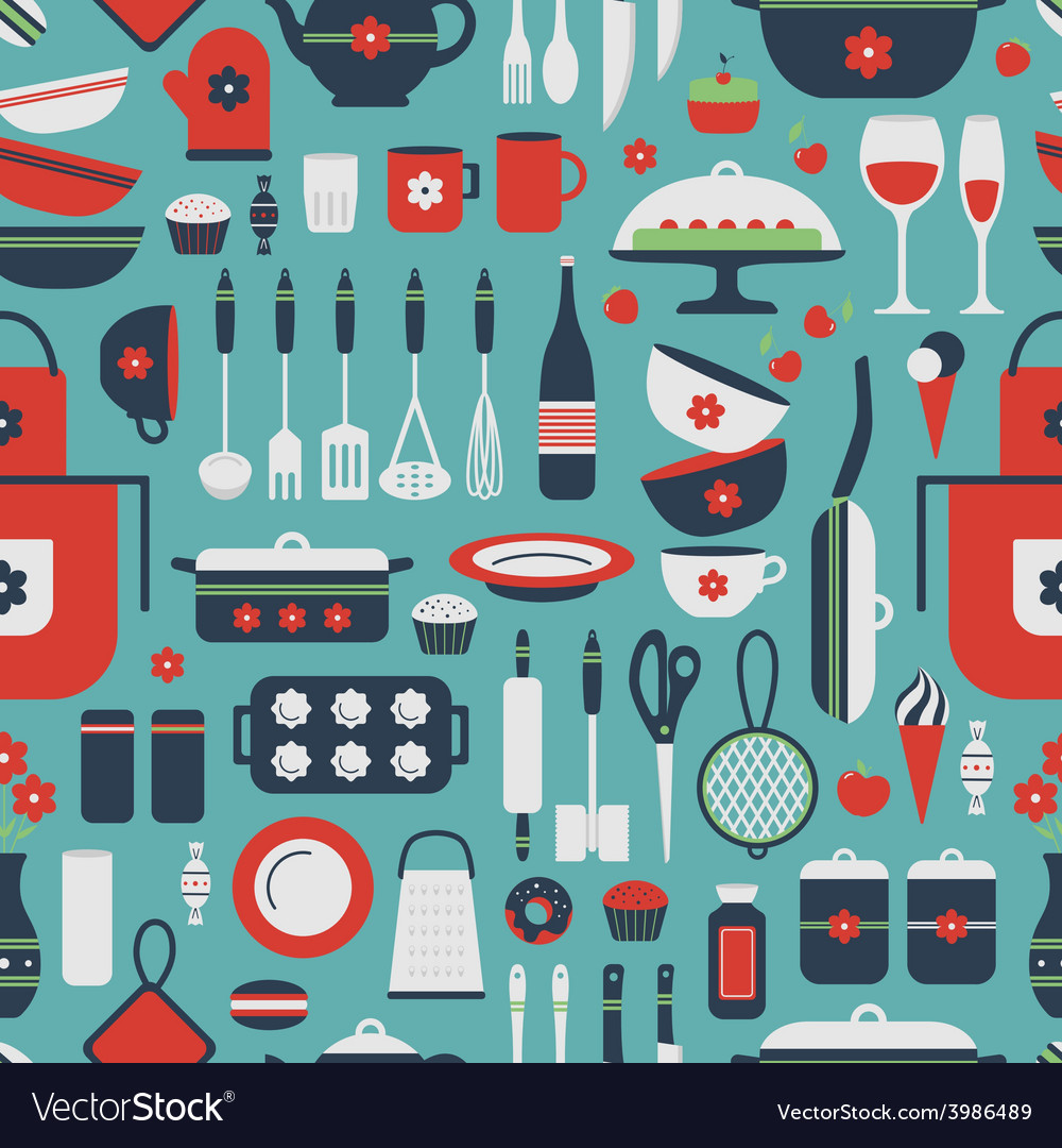 Seamless pattern of kitchen utensils vector | Price: 1 Credit (USD $1)